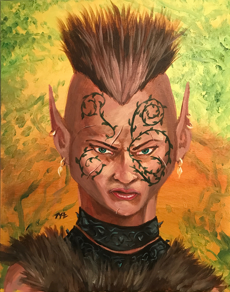 Portrait painting of an unhappy elf barbarian