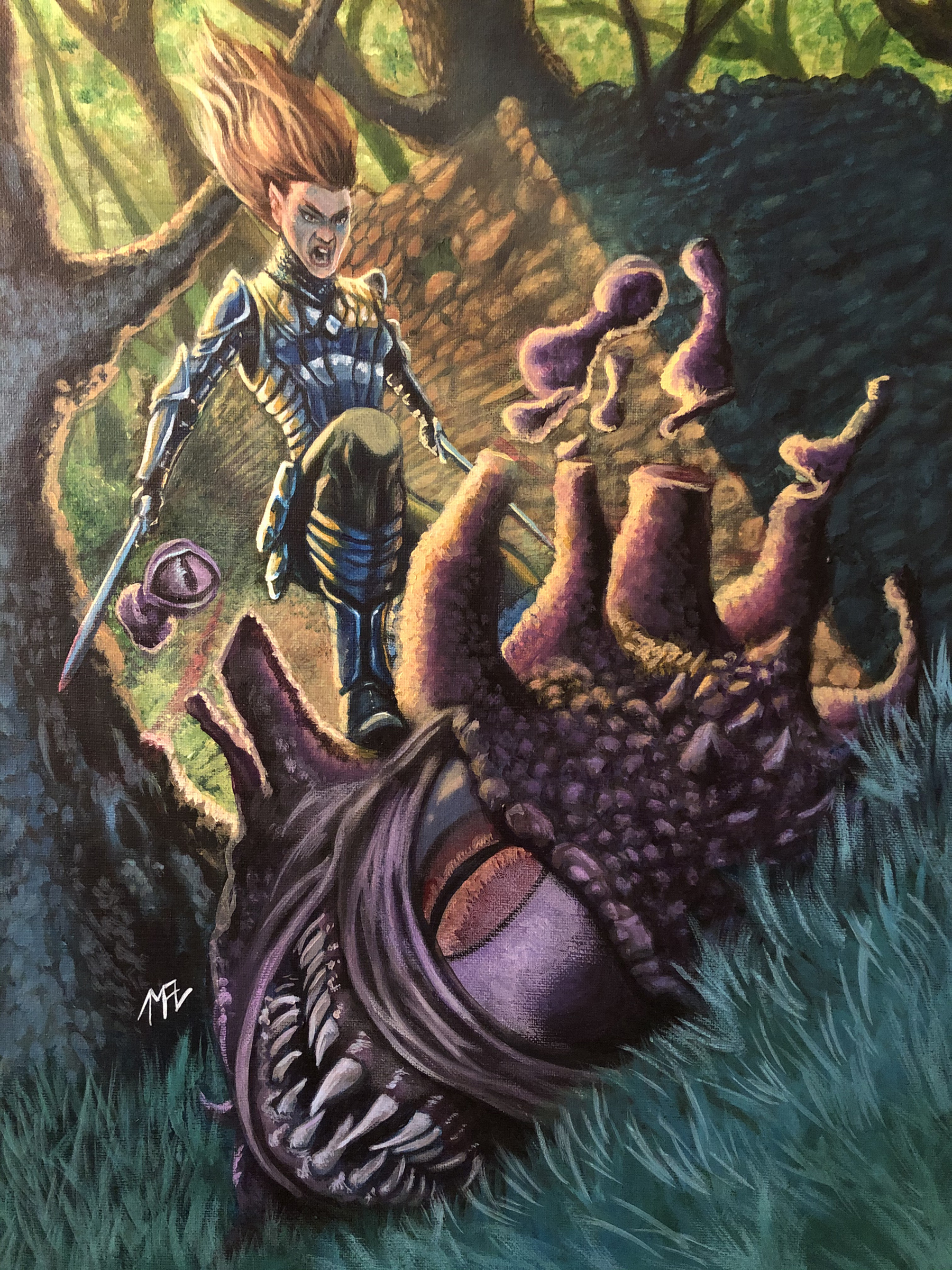 Fantasy acrylic painting of elf landing on a beholder severing many of its eye stalks while smashing it to the ground in a forest.