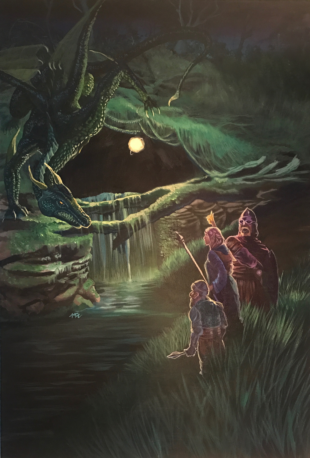 Painting of a trio of adventurers discovering a dragon accidentally.