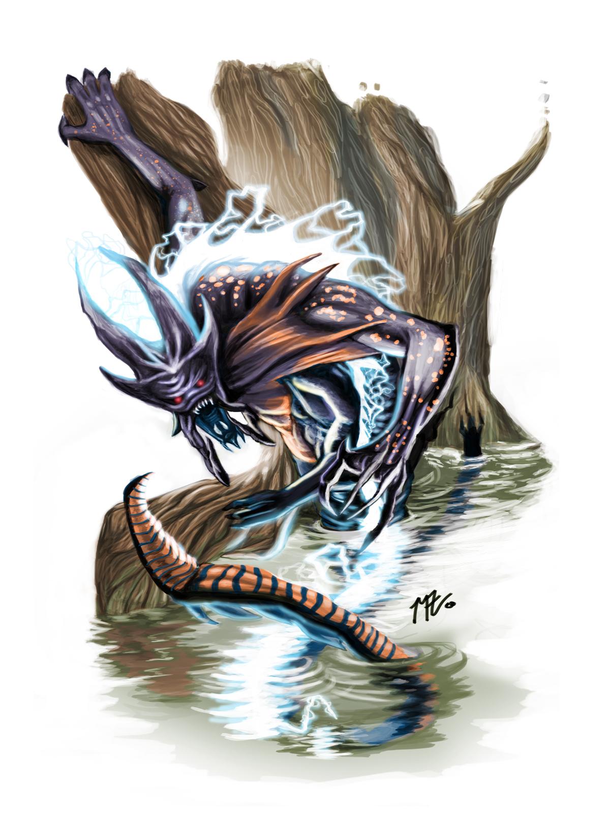 Vignette digital painting of a Salamander Demon